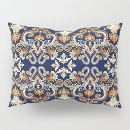 Baroque vintage illustraton pattern. Floral background with gold damask flowers swirl scroll leaves and antique rich Baroque ornaments. Luxury ornate royal texture. Pillow Sham