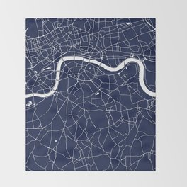 Navy on White London Street Map Throw Blanket