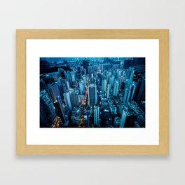 Hong Kong downtown at night Framed Art Print
