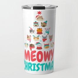 Meowy Christmas | Cat Xmas Tree Decoration Travel Mug