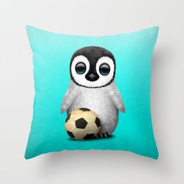 Cute Baby Penguin With Football Soccer Ball Throw Pillow