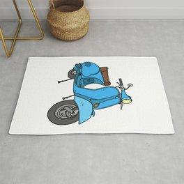 Blue motor scooter (vespa) Rug