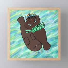 Mermaid & Manatee Framed Mini Art Print