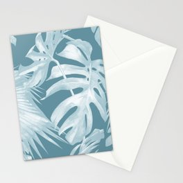 Teal Blue Tropical Palm Leaves Stationery Cards