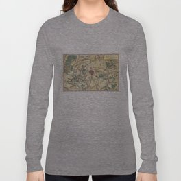 Vintage Map of Paris and Surrounding Areas (1780) Long Sleeve T-shirt