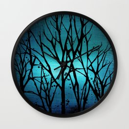 Teal Branch Trees Wall Clock