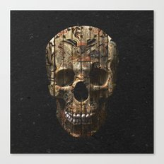 Vintage American Tattoo Skull Wood Stripes Texture Canvas Print