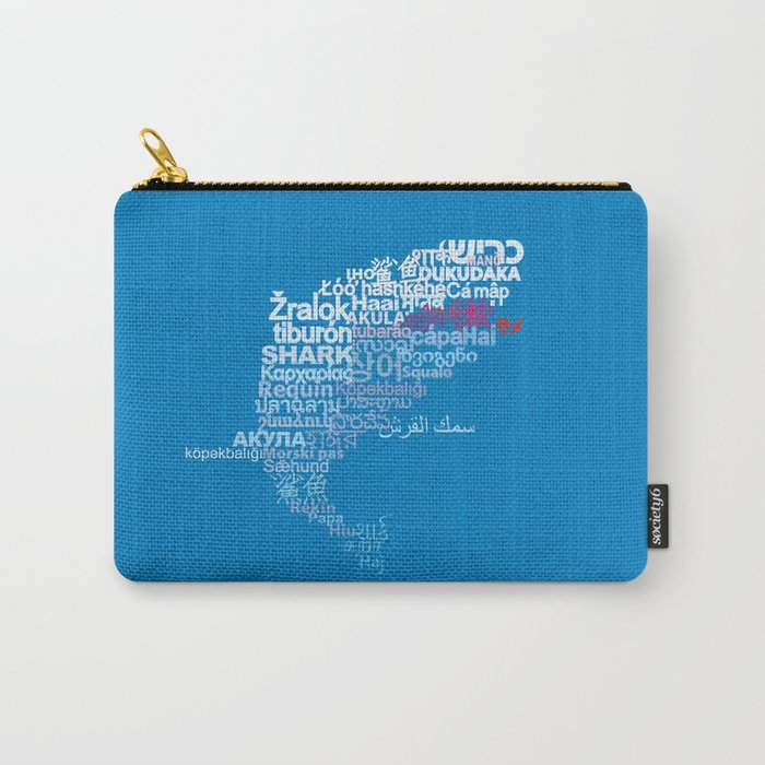 Shark in Different Languages Carry-All Pouch