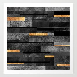 Urban Black & Gold Art Print