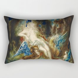 "Gustave Moreau ""La fée aux Griffons (The Fairy with Griffons)"" Rectangular Pillow"