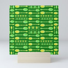 Unique Artsy Spoons! (Bright Green) Mini Art Print
