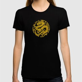 Traditional Yellow and Red Chinese Dragon Circle T-shirt