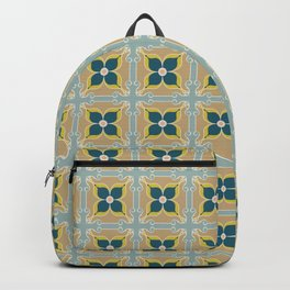 Olive Green Tiles Pattern Portuguese Patchwork Moss Rust Blue Tiles Home Decor Backpack
