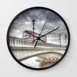 Battersea Bridge London Snow Wall Clock