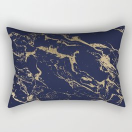 Modern luxury chic navy blue gold marble pattern Rectangular Pillow