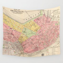 Vintage Map of Boston MA (1876) Wall Tapestry