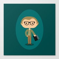 woody allen Canvas Prints featuring Woody Allen by Sombras Blancas Art & Design