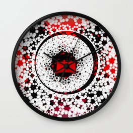 Red Black White Abstract pattern Wall Clock