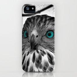 Black and White Hawk with Aqua Blue Eye A165 iPhone Case