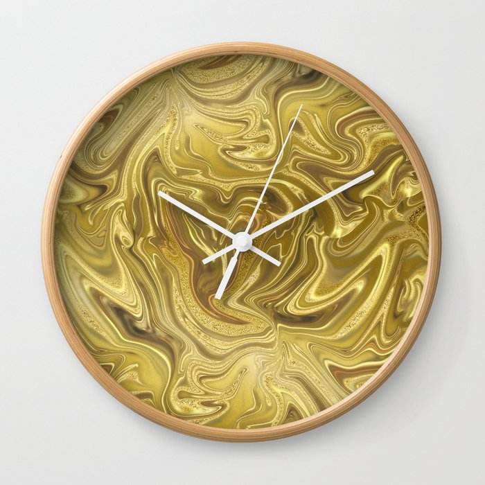 Rich Gold Shimmering Glamorous Luxury Marble Wall Clock By Lebensart