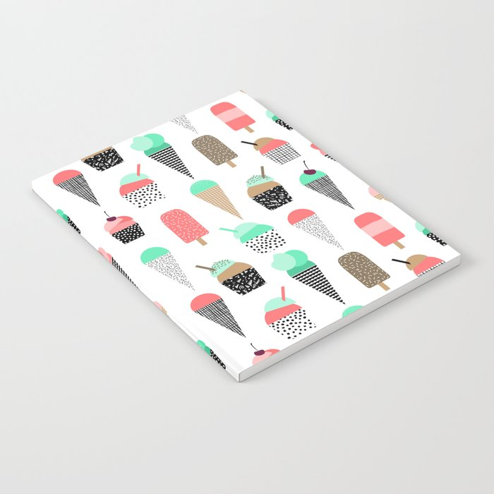 Ice Cream - Summer fresh modern minimal print pattern design gifts for college  Notebook