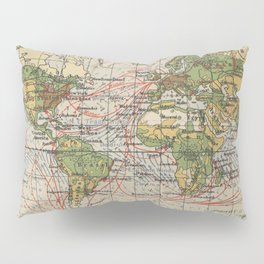 Vintage World Sailing Routes Map (1914) Pillow Sham