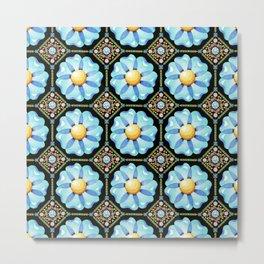 Blue Floral Millefiori Metal Print