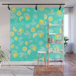 Modern summer bright yellow green lemon fruits watercolor illustration pattern on mint green Wall Mural