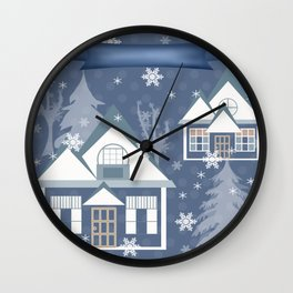 "A series of ""Covers for notebooks"" . Winter . Christmas holidays . Wall Clock"