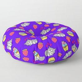 Cute happy sleeping dreaming Kawaii baby raccoon, sweet red summer strawberries and colorful rainbow yummy cupcakes midnight blue design. Nursery decor. Floor Pillow