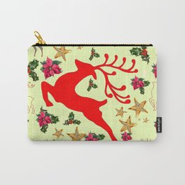 DECORATIVE LEAPING RED DEER  & HOLY BERRIES CHRISTMAS  ART Carry-All Pouch