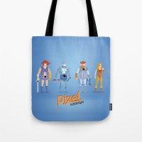 thundercats Tote Bags featuring Thundercats - Pixel Nostalgia  by Boo! Studio