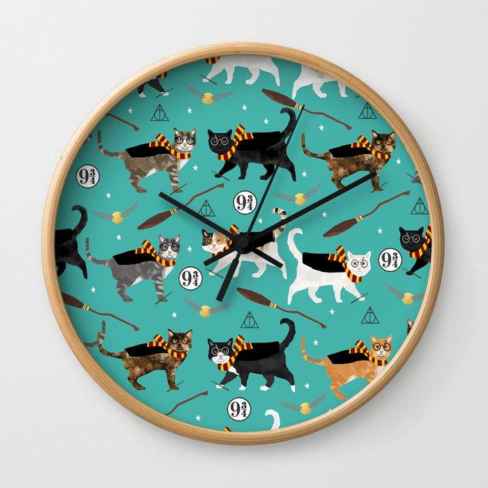 Cat wizard cats magic school pattern Wall Clock