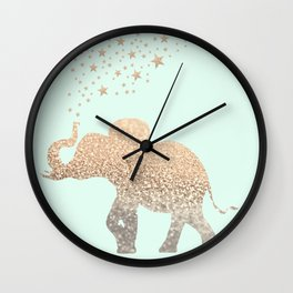 ELEPHANT - GOLD MINT Wall Clock