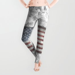 Winter Hybrid Patriotic Flag Camo Leggings