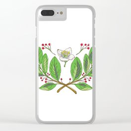 Yerba Mate Flower Leaf and Fruit Drawing Clear iPhone Case
