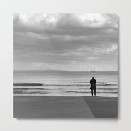 BEACH DAYS XXV BW MAN SILHOUETTE Metal Print