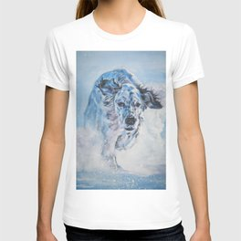 English Setter in Snow dog art from an original painting by L.A.Shepard T-shirt