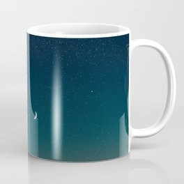 Turquoise Night Star Sky With Moon Astronomy Photography Coffee Mug
