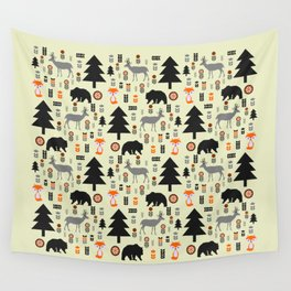 Winter bears, foxes and deer Wall Tapestry