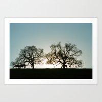 palo alto Art Prints featuring Palo Alto Sunset by David Louis Klein