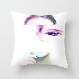 Do you remember... Glitch portrait Throw Pillow
