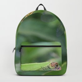 Green and Brown Dragonfly Holding On To Oleander Backpack