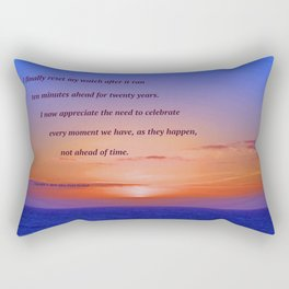 """Moonstone Beach Moment"" with poem: And Counting Rectangular Pillow"