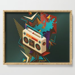 Bust Out The Jams Retro 80s Boombox Splash Serving Tray