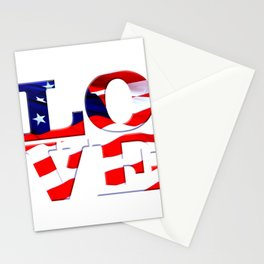 Love America is comprised of the word LOVE w/ American Flag overlay. Old Glory, Stars & Stripes Stationery Cards