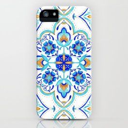 Hand Painted Moroccan Tiles - Aqua and Gold iPhone Case