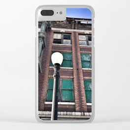 Abandoned Building with Lamp Post Clear iPhone Case