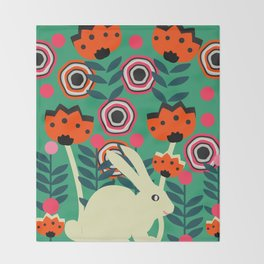 Little bunny in spring Throw Blanket