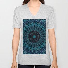 Mandala in light and dark blue tones Unisex V-Neck